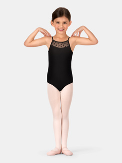 Child Camisole Bow Mesh Panel Back Leotard