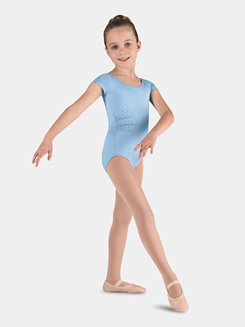 Girls Diamantes Cap Sleeve Leotard