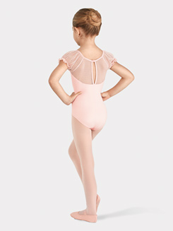 Girls Spot Tulle Puff Sleeve Leotard