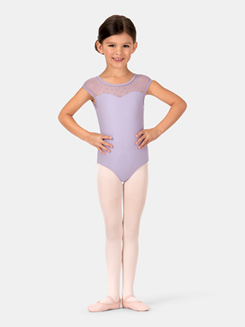 Child Cap Sleeve Bow Mesh Leotard