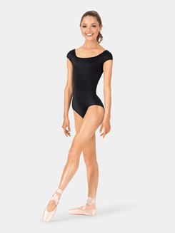 Adult Cap Sleeve Stripe Mesh Leotard