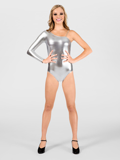 Metallic Leotard with One Shoulder