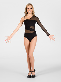 Asymmetrical One-Sleeve Spliced Leotard