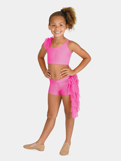 Child Mesh Ruffle Dance Short