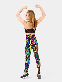 Girls Neon High Waist Zebra Legging