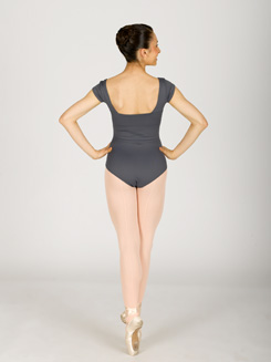 Cap Sleeve Leotard With Shirred Side 