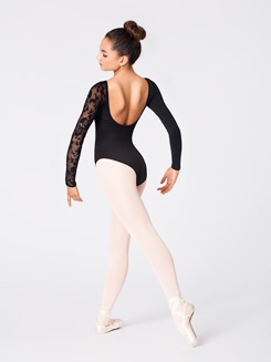 Adult Lace Detail Long Sleeve Leotard