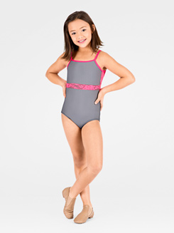 Child 2-Tone Lace Inset Camisole Leotard