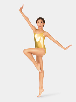 Girls Metallic Camisole Dance Leotard