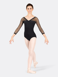 Adult 3/4 Sleeve Dot Mesh Leotard