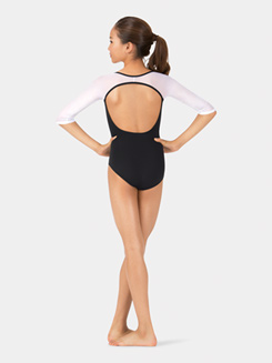 Girls 3/4 Mesh Sleeve Leotard
