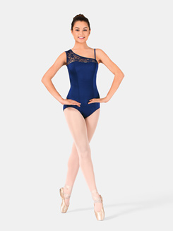 Asymmetrical Cap Sleeve Lace Leotard