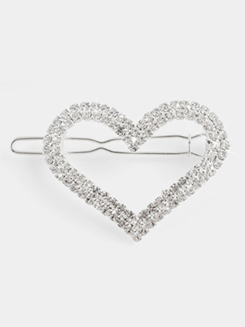 Rhinestone Heart Hair Barrette 