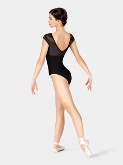 Adult Striped Mesh Cap Sleeve Leotard