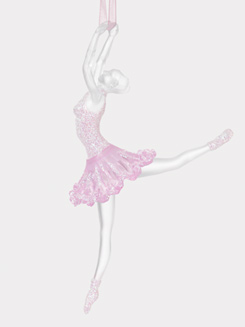 Acrylic Pink Glitter Ballerina Ornament