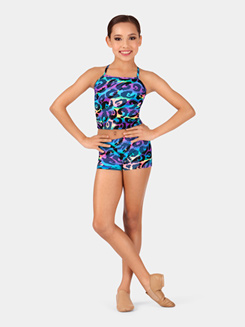 Girls Rainbow Leopard Print Dance Shorts