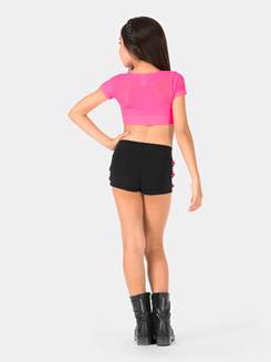 Child Cap Sleeve Mesh Midriff Top