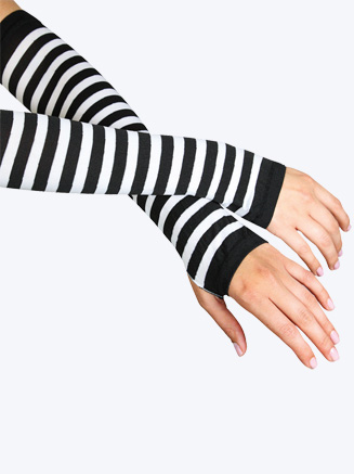 All About Dance Black And White Striped Gloves