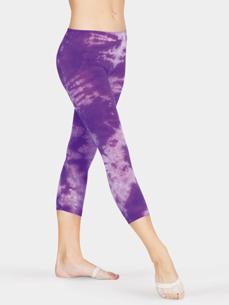 Mix-Its Lightweight Adult Tie-Dye Capri Leggings With Inside Seam