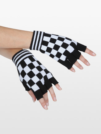 White Checkered Gloves - Style No 4660D