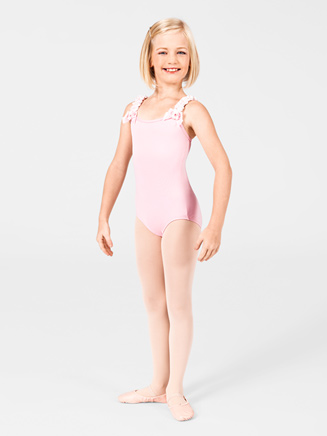 Girls Ruffled Strap Camisole Dance Leotard - Style No AAD100C