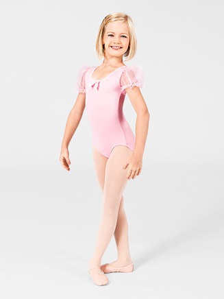 Girls Chiffon Sleeve Crisscross Dance Leotard - Style No AAD104C