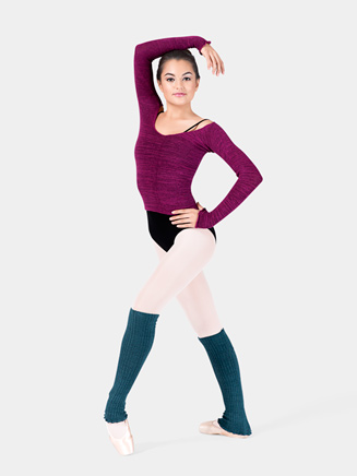 Adult Long Sleeve Acrylic Stretch Ballet Neck Top - Style No AL1143001