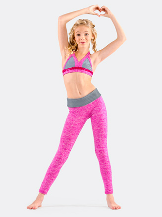 Girls Leggings with Stripe Waistband - Style No CKB153