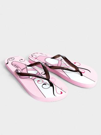 Adult Pointe Shoe Print Flip Flop Sandal - Style No FFS03
