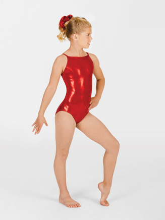 Child Metallic Gymnastic Camisole Leotard - Style No G501C