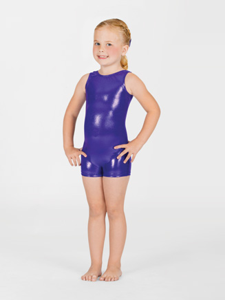 Child Metallic Gymnastic Tank Biketard - Style No G503C