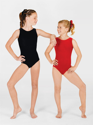 Child Velvet Gymnastic Tank Leotard - Style No G505C