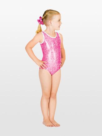 Perfect Balance Child Foil Heart Gymnastic Tank Leotard