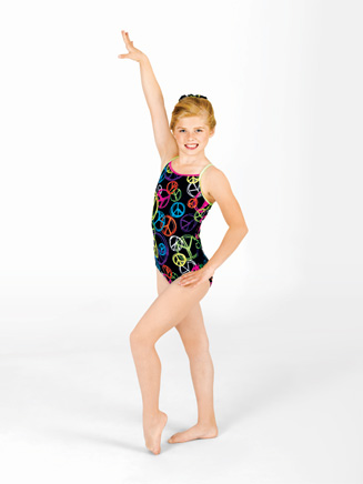 Child Neon Peace Gymnastic Camisole Leotard - Style No G528C