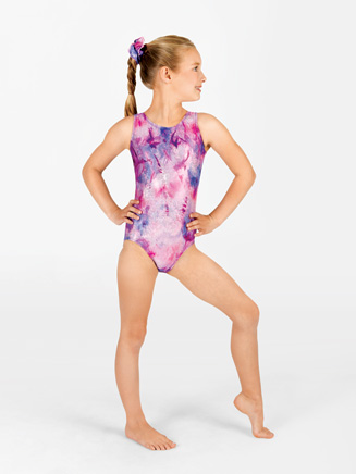 Child Contrast Racerback Gymnastic Tank Leotard - Style No G530C
