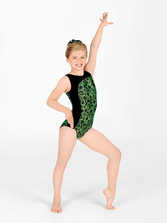 Child Asymmetrical Gymnastic Boat Neck Leotard - Style No G536C