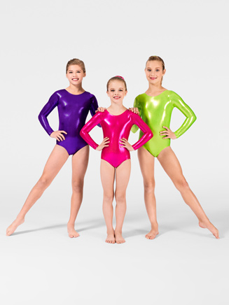 Child Metallic Long Sleeve Leotard - Style No G545C
