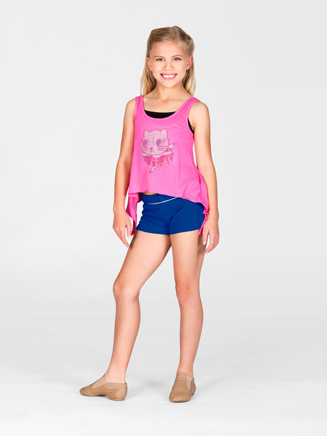 Child Ballerina Kitty Rhinestud Applique Top - Style No K5082
