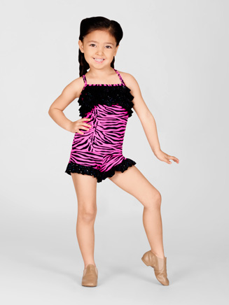 Child Pink Zebra Ruffle Cami Top - Style No K5083