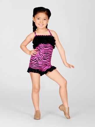 Duck Crossing Child Pink Zebra Ruffle Cami Top