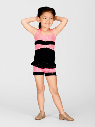 Duck Crossing Child Pink Sequin Top With Front Belt