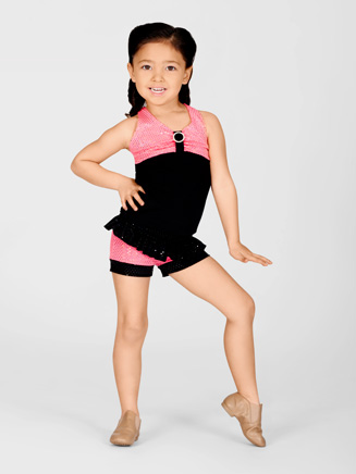 Child Pink Sequin Short With Ruffle Waist - Style No K5087