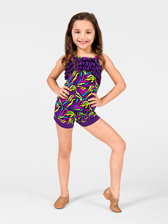 Child Neon Zebra Ruffle Short - Style No K5089