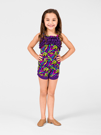 Child Neon Zebra Ruffle Cami Top - Style No K5090