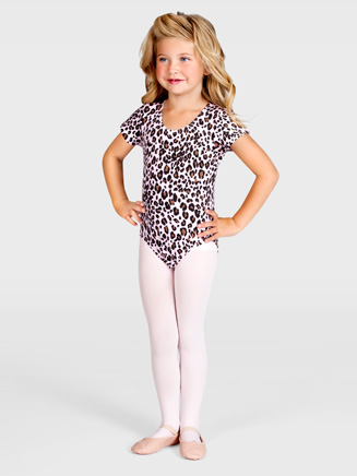 Child Leopard Cap Sleeve Leotard - Style No L2790