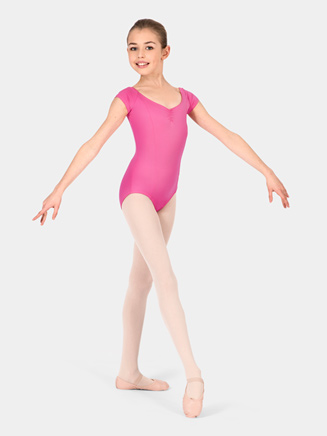 Child Pinch Front Cap Sleeve Leotard - Style No M2149C