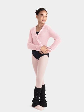Mirella Child Pleated Knit Wrap Top