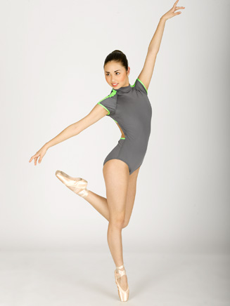 Mock Turtleneck Cap Sleeve Leotard With Contrast Detail - Style No N8568
