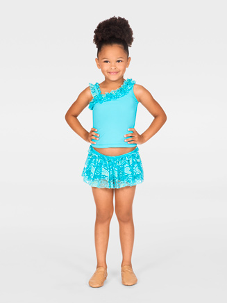 Child Asymmetrical Ruffled Tank Top - Style No N8680C