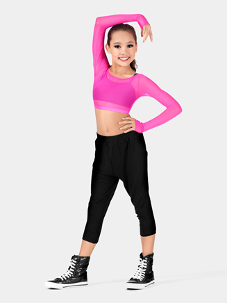 Girls Power Mesh Long Sleeve Crop Top - Style No N8788C